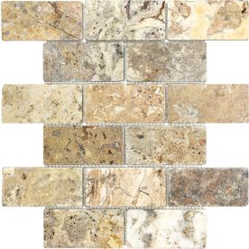 Scabos Tumbled Natural Stone Mosaic Subway Wall Tile (Common: 12-in x 12-in; Actual: 12-in x 12-in)