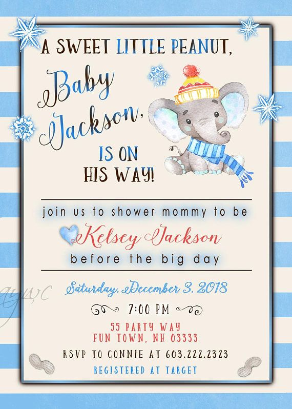 Perfect for a winter themed baby shower invitation, but with the added touch of the cutest little elephant.  Thank you for stopping by AsYouWishCreations4u! I create printable party invitations for baby showers, birthday parties, bridal showers and more. Wow your baby shower