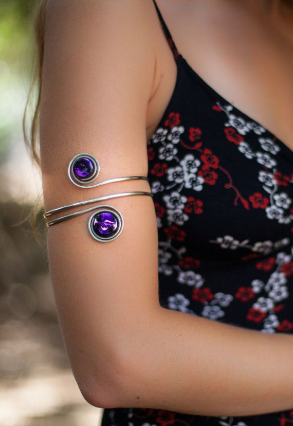 Upper Arm bracelet / Armlet / Arm cuff / Arm band made of German Silver and Organic hand painted stones Gypsy style