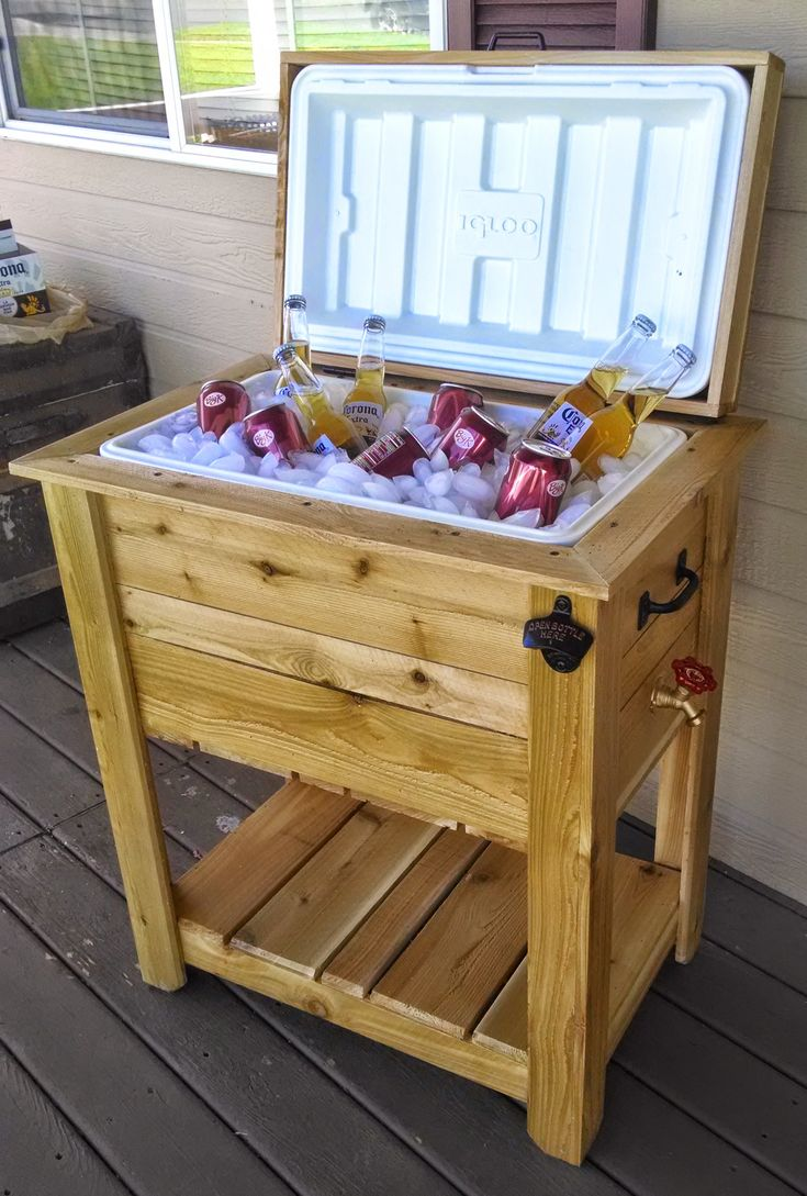 This Ice Chest Box is made out of quality materials! Western Red Cedar which is a natural wood that is great for all weather purposes. It has a handle on each side for easy transport, handle on lid for hassle free opening, a spigot to drain the contents, a 52 quart capacity ice chest, a bottle opener, and a shelf below to hold extra drinks. Weatherproof hardware! Coated with a weather and u.v. resistant finish.