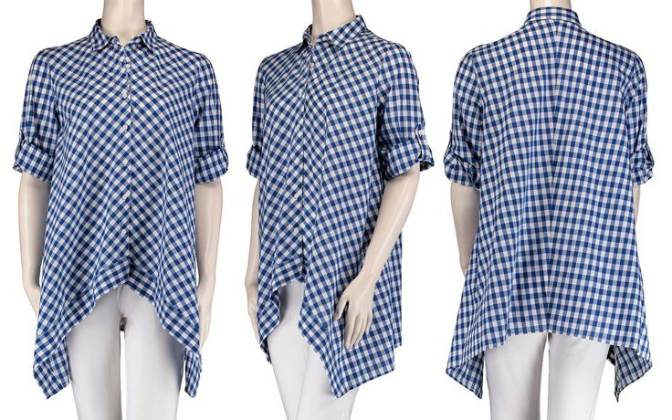 Gingham Button Front Swing Shirt