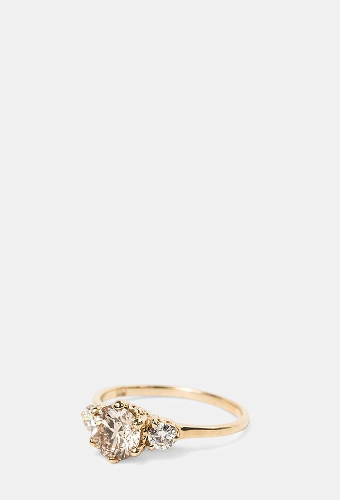 14k yellow gold with champagne and white diamonds  #RePin by AT Social Media Marketing - Pinterest Marketing Specialists ATSocialMedia.co.uk