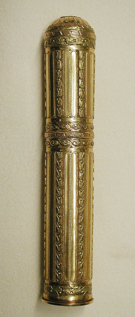 Étui, 1774-1775 France, Gold.  Made to hold sealing wax, which was purchased as a stick. One end of the wax stick would be heated until it begins to melt, at which point it would be dabbed onto a folded letter to seal it. Metropolitan Museum of Art