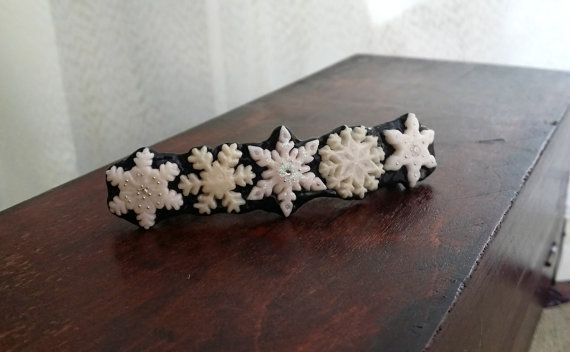 Snowflake Hair Barrette Clip  French Hair by EvasCreationsShop