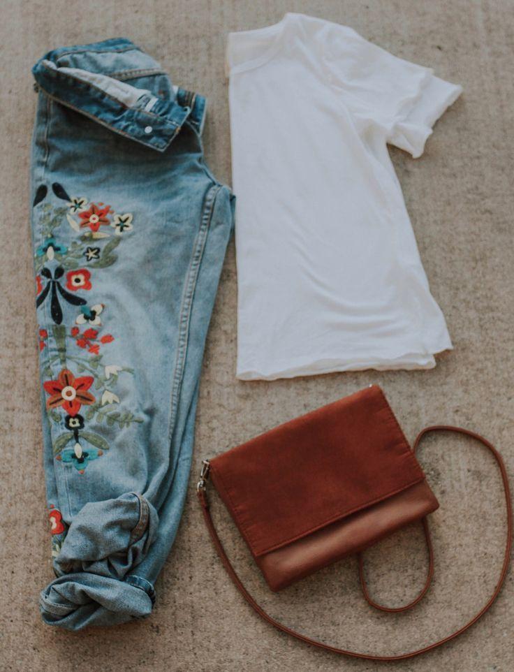 Sage Floral Embroidered Boyfriend Jeans 1