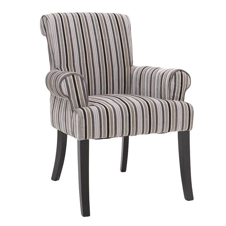 FABRIC ARMCHAIR W/BEIGE-BLACK STRIPES 70X47X92 - Armchairs - FURNITURE