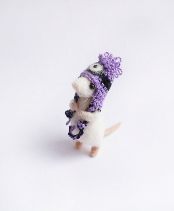 Needle felted mouse wearing purple minion by HandmadeByNovember