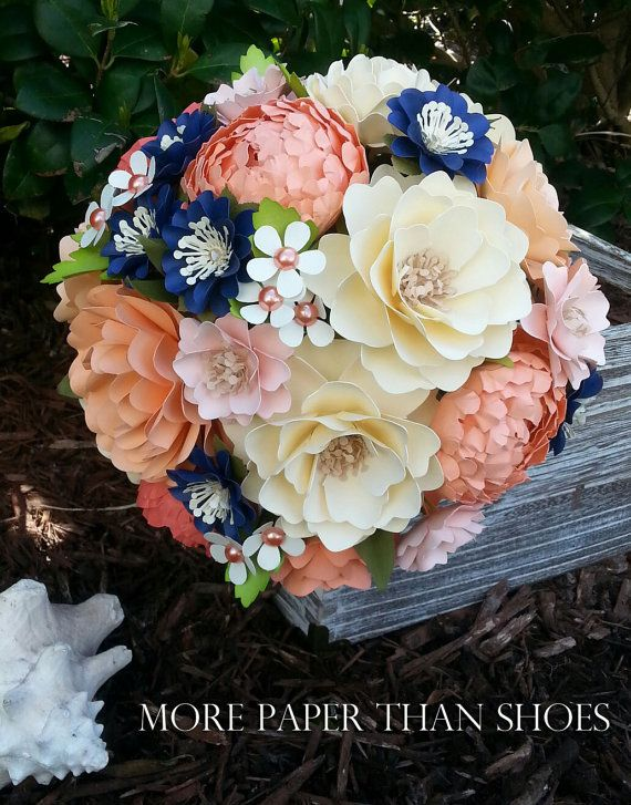 Paper Bouquet - Paper Flower Bouquet - Wedding Bouquet - Shades of Peach and Navy Custom Made - Any Color