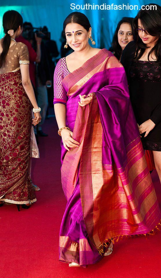 Purple and Pink Silk Saree