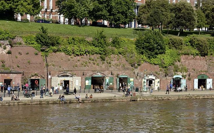 Shops in the wall at Exeter Quay, Devon