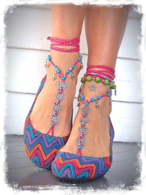 HAWAII Hochzeit BARFUß Sandalen Hot Pink Blumen häkeln Sandals Fuss Schmuck Hippie Flower Fußkette Strand Hochzeit Fleur de Lis Fuß thong