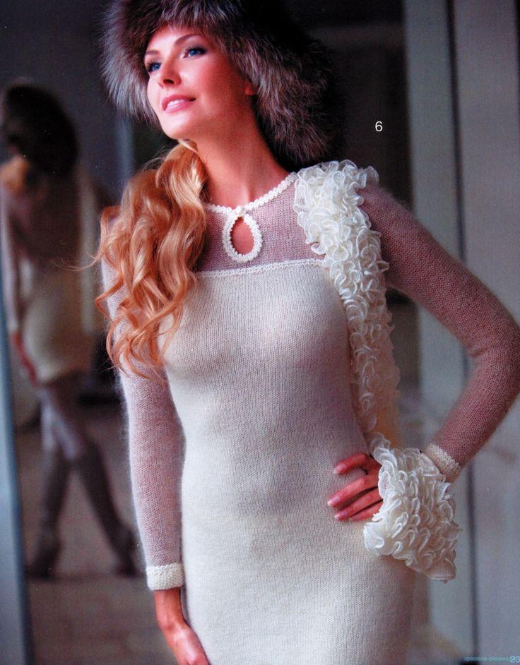 Платье спицами. Из «Журнала мод» Автор Светлана Абрамочкина.   Для увеличения нажмите на картинку…
