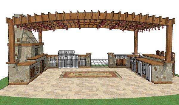 Spellbinding Plans for a Outdoor Kitchen with Cooking Pizza Brick Oven also Curved Roof Pergola Designs