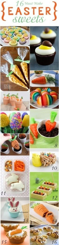 10) Chow Mein  marshmallow birds nest with jellybeans, 11) bunny sandwich lunch, 12) wafers, orange Mike  Ike candies, green gummy candy for stems  chocolate frosting and wafers to hold together and for dirt, 13) Cookie bunny ears cupcakes, 14) Williams Sonoma carrot cake, 15) circus peanuts candy and twizzler stem carrot on cupcake, 16) Pillsbury Cinnamon rolls shaped into cinnabunnies