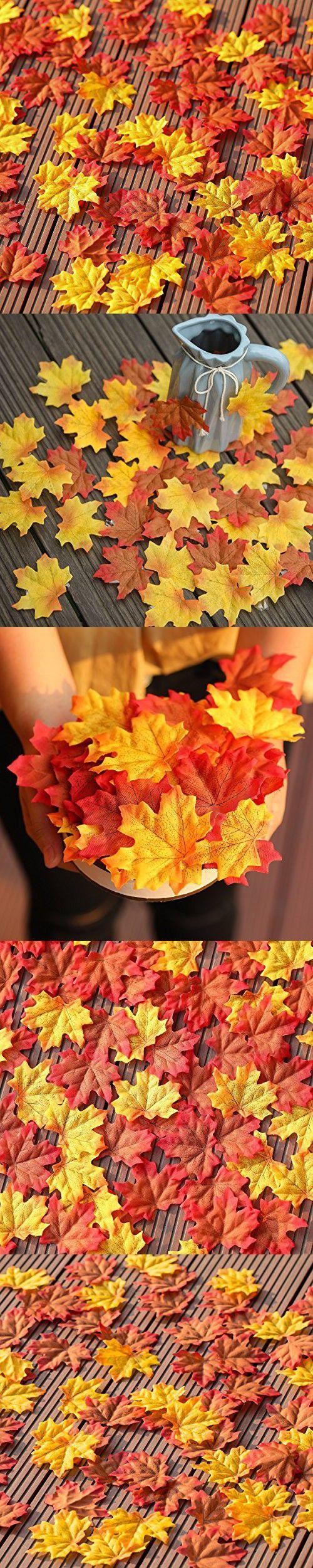 PARTY JOY 400pcs Artificial Maple Leaves Autumn Colored For Scrapbooking Silk Flower Wreaths Wedding Favor Party Decoration,Mixed Color