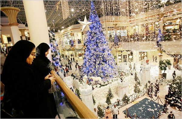 Christmas decorations are on display at one of Dubai's largest shopping malls.