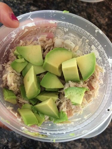 Simple, delicious and full of protein! Split two cans of tuna and one avocado between three lunches!