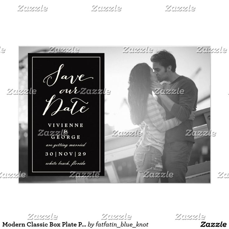 zazzle wedding invitations promo code%0A Modern Classic Box Plate Photo Save The Date Card   Beautiful wedding  invitations  Shop the