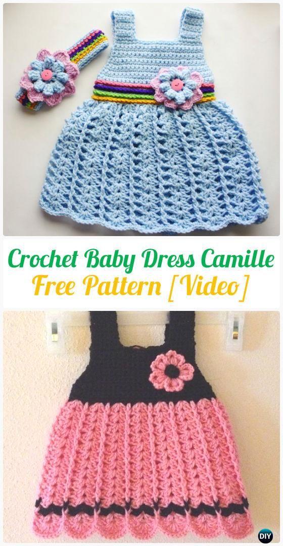 Crochet Baby Dress Camille FreePattern - #Crochet Girls Dress Free Patterns