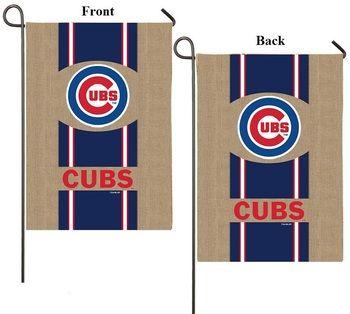 Chicago Cubs 2 Sided MLB Burlap Garden Flag 12.5x18 Logo Striped