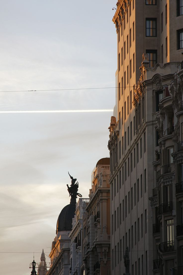 Gran Via street in Madrid city.