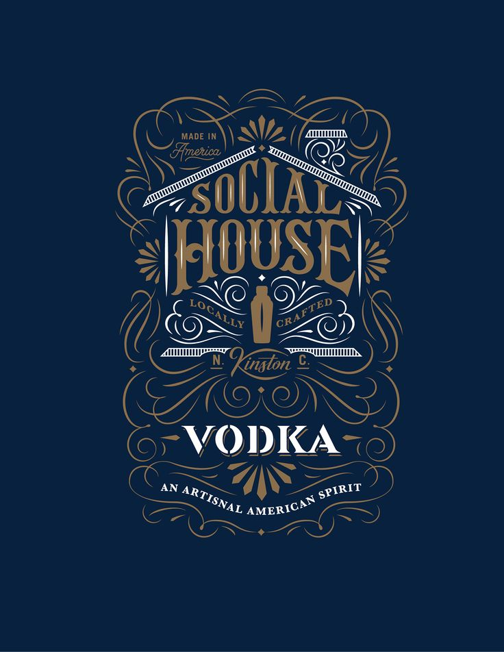 Concept packaging and branding for a distillery in Kinston N.C. called Social House. By Joel Felix