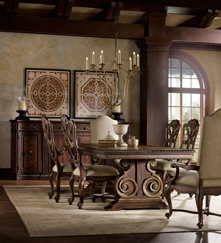Adagio Rectangle Dining Table With Double Pedestal Base By Hooker Furniture