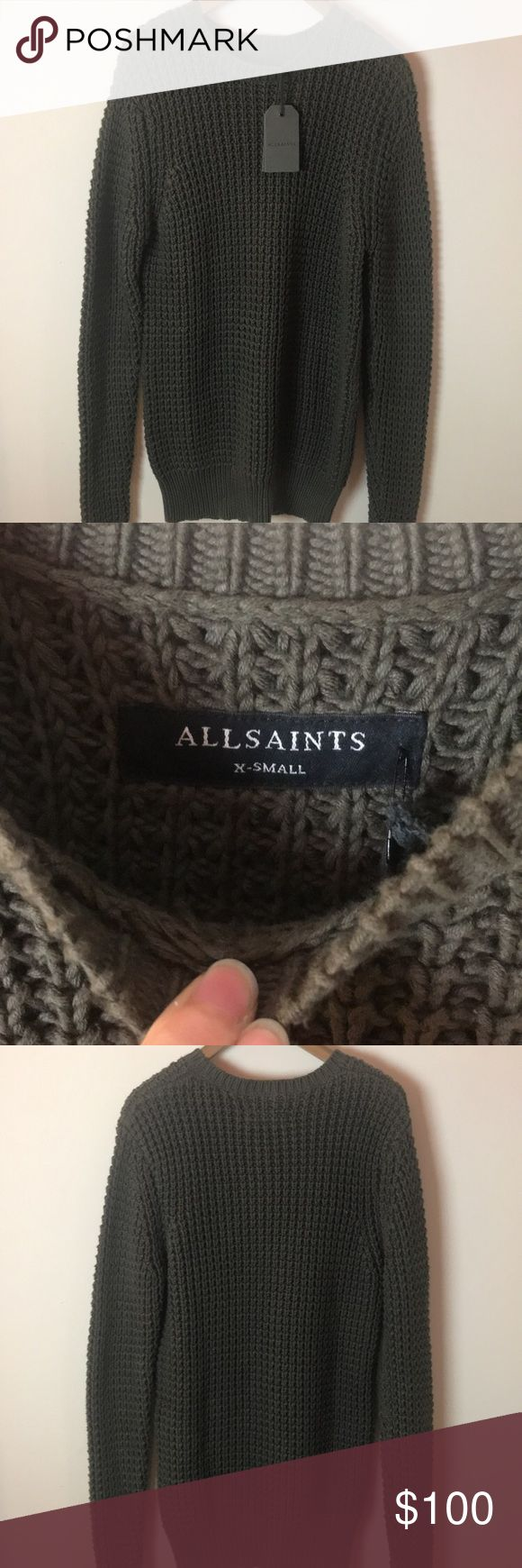 NWT men's AllSaints sweater NWT. Size XS. NAME IS ROK CREW. color is olive All Saints Sweaters Crewneck