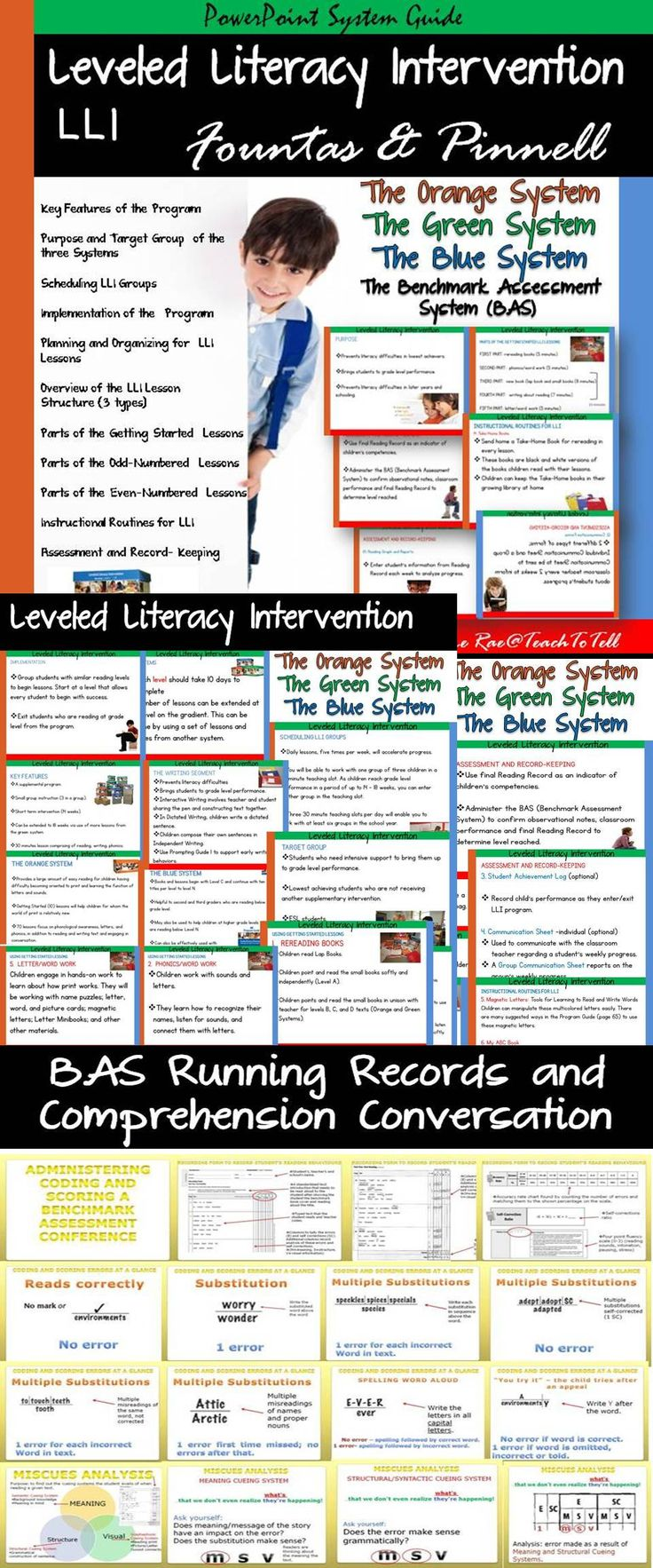 This PowerPoint Presentation Guide will equip you with key content knowledge on the Leveled Literacy Intervention (LLI) Orange System, Green System, and Blue System. Also included is a PowerPoint file on the Benchmark Assessment System (BAS) that provides practical information on conducting Running Records. This will be useful during the even-numbered lessons when a Reading Record needs to be done.