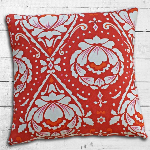 Cushions from Cushionopoly - Fleurs Rouge Chaudes cushion cover. From the Belle Amour Collection.