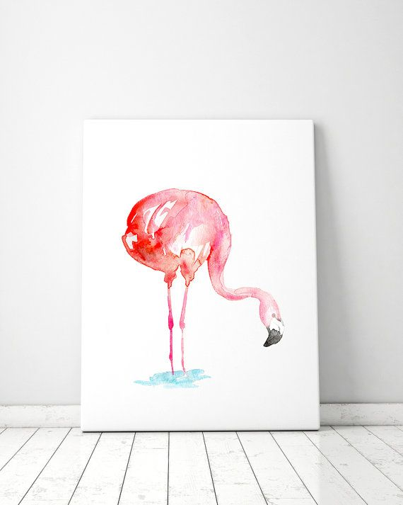 Flamingo Kunst  flamingo Aquarel  flamingo van Zendrawing op Etsy