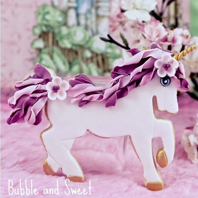 Bubble and Sweet: Unicorn Cookie Instructions - I wish I was a unicorn with flowers in my hair