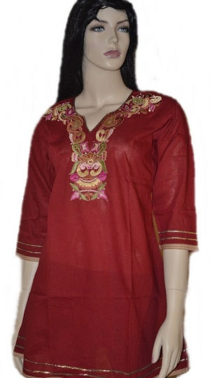Look Elegant in this  beautiful fine cotton Anarkali style flared red designer kurti, with bold colorful embroidery on the neck embellished with gold zari and gold piping on the daaman and sleeves