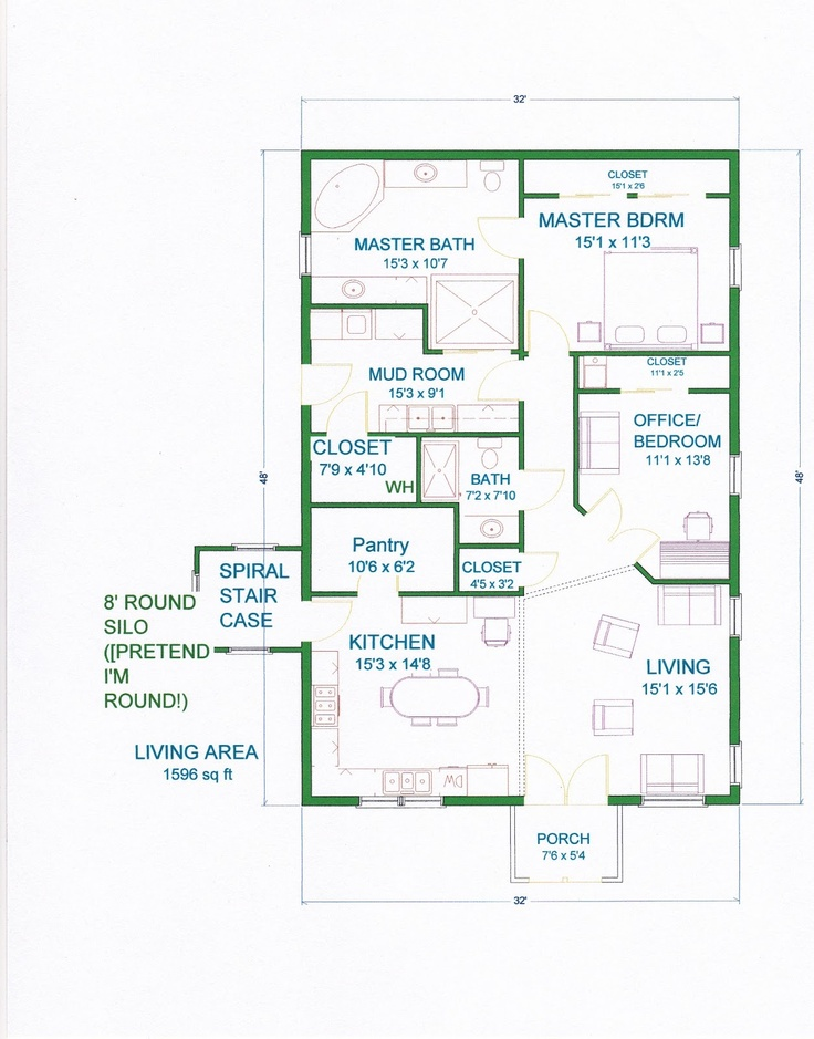 Barn style house plans with silo for Barn style house floor plans