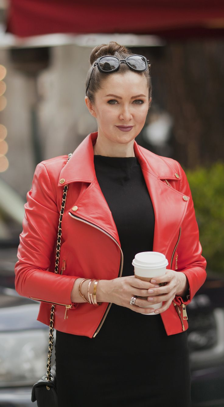 Red biker jacket by ADAMOFUR #fashion #streetstyle #look #spring #red #leather