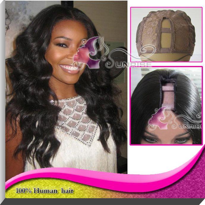Дешевле Glueless U часть парик 100% бразильский человеческих волос объемной волны центр у части парик бесплатная доставка