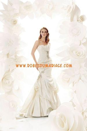 Simone Carvalli sans bretelle robe de mariée ivoire sirène ornée de pli taffetas Style 7203 Robe