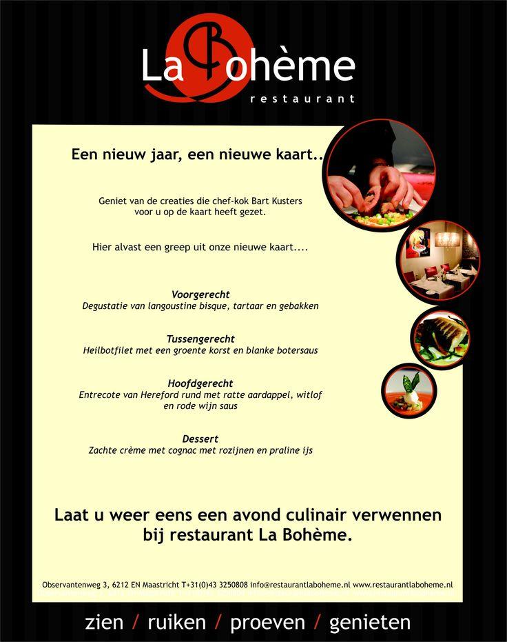 Kom genieten van de nieuwe kasrt bij restaurant La Boheme in Maastricht www.restaurantlaboheme.nl/onze-keuken/menukaart