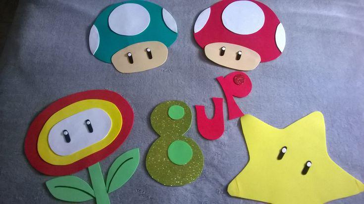 DIY Decoración de pared fiesta Mario bros y marco para fotos!!