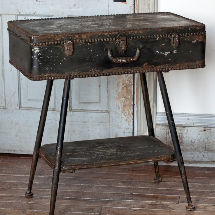 Suitcase Side Table Metal With An Extra Lower Shelf In