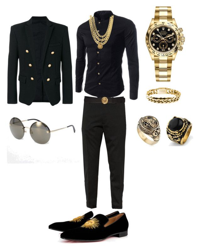 Nino Brown by tikitress on Polyvore featuring Dsquared2, Balmain, Christian Louboutin, Rolex, Versace, West Coast Jewelry, Meadowlark, Rocawear, men's fashion and menswear