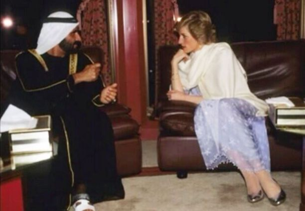 Princess Diana with Sheikh Mohammed bin Rashid during her visit to the UAE in 1989