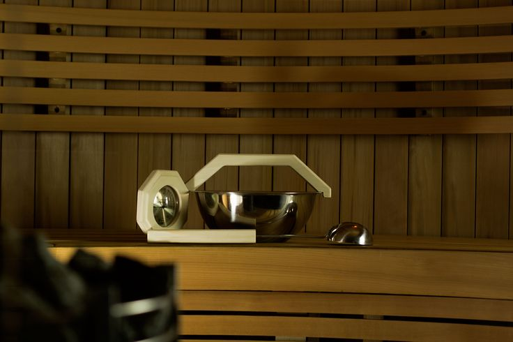 "Aspen sauna accessories look good in any kind of sauna no matter if it's dark or light.  #Sauna #SaunaBenches #Lauteet #Saunanlauteet #Kiuas #Saunatarvikkeet ""SaunaAccessories"