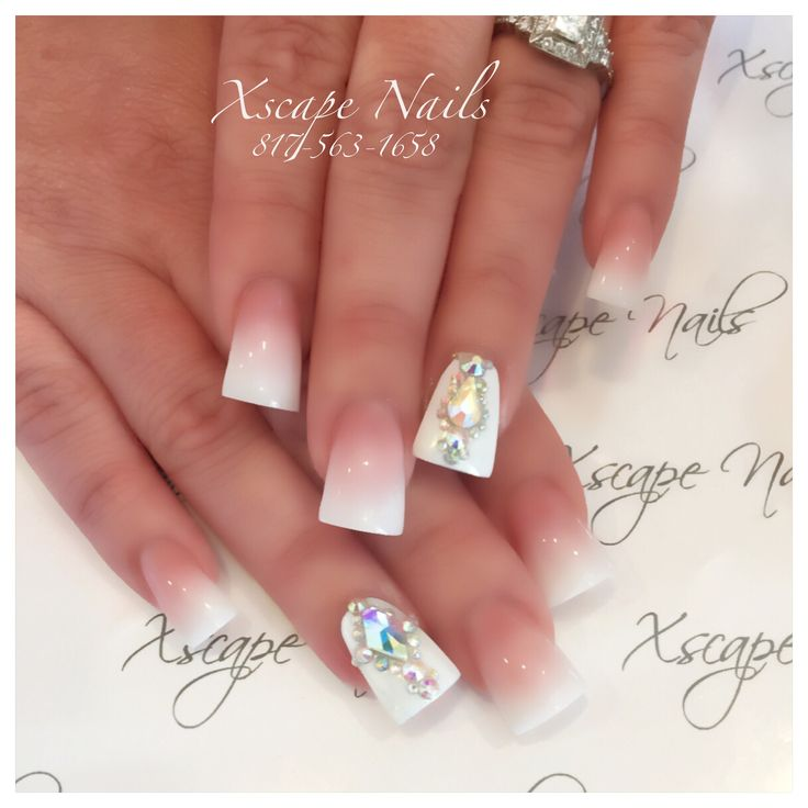 Ombré French Flared wedding nails