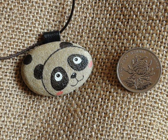Panda Hand Painted Pebble Stone Rock Pendant Necklace on Etsy, $19.99