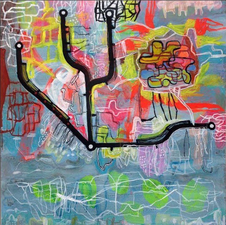 Ross Gash  Australie/France Au Cabaret-Vert, cinq heures du soir… Peinture vinylique sur papier marouflé sur toile