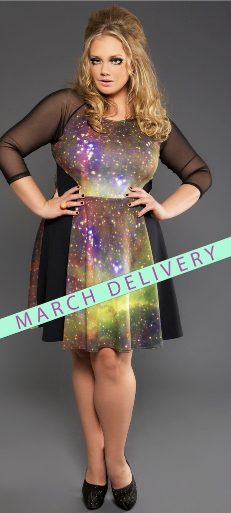GALAXY FIT N FLARE DRESS - I love this, even if the model looks concussed. Sadly, it's out of stock. :(