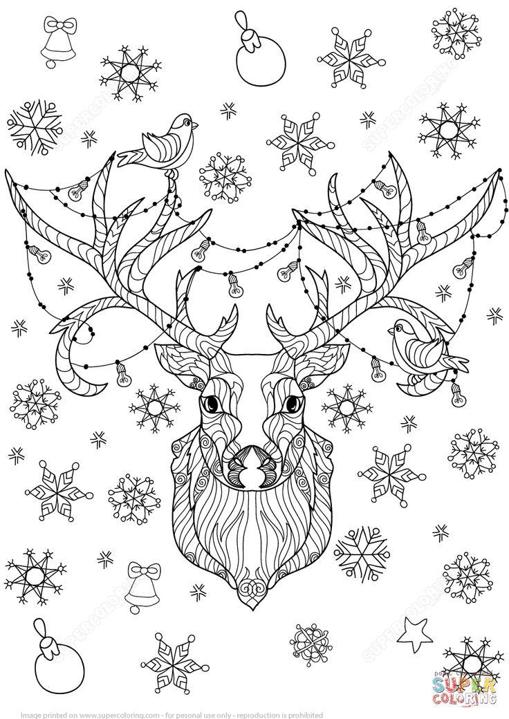 christmas deer with light bulbs garland zentangle coloring