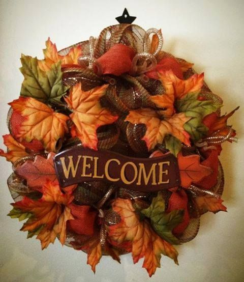 Fall welcome deco mesh wreath