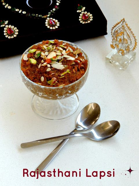 Rajasthani Lapsi/Broken Wheat Pudding 1cup Wheat rava/Broken wheat 3/4cup Ghee 3/4cup Grated Jaggery 3cups Water 1/4cup Almonds (sliced)& raisins